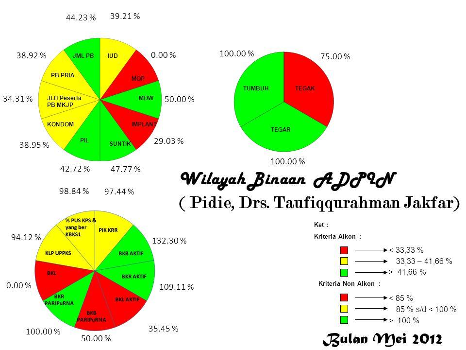 Wilayah Binaan ADPIN ( Pidie, Drs. Taufiqqurahman Jakfar) P i d i e 39.21 % 0.00 % 50.00 % 29.03 % 47.77 % 42.72 % 38.95 % 34.31 % 38.92 % 44.23 % 97.
