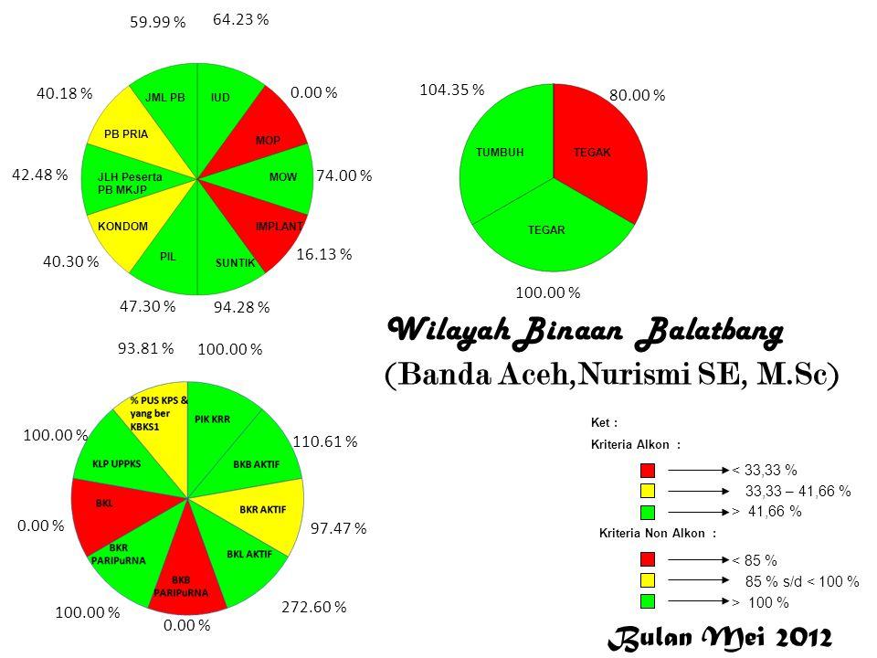 Banda Aceh Wilayah Binaan Balatbang (Banda Aceh,Nurismi SE, M.Sc) 64.23 % 0.00 % 74.00 % 16.13 % 94.28 % 47.30 % 40.30 % 42.48 % 40.18 % 59.99 % 100.0