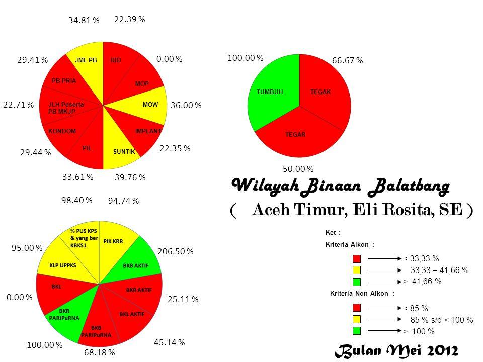 Wilayah Binaan Balatbang ( Aceh Timur, Eli Rosita, SE ) 22.39 % 0.00 % 36.00 % 22.35 % 39.76 % 33.61 % 29.44 % 22.71 % 29.41 % 34.81 % 94.74 % 206.50