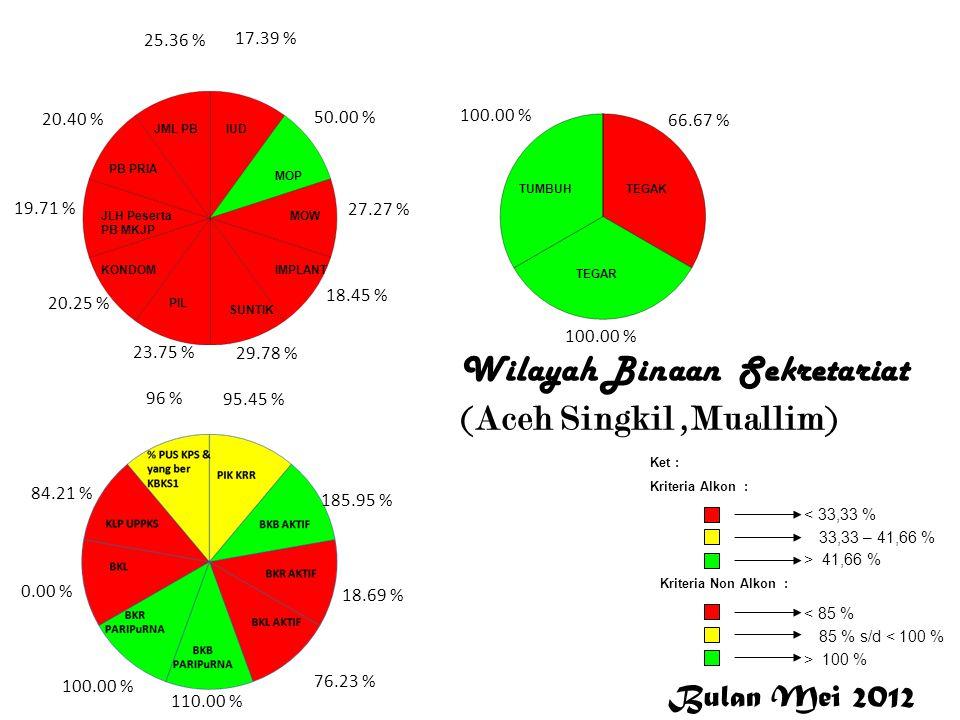Wilayah Binaan Sekretariat (Aceh Singkil,Muallim) 17.39 % 50.00 % 27.27 % 18.45 % 29.78 % 23.75 % 20.25 % 19.71 % 20.40 % 25.36 % 95.45 % 185.95 % 18.