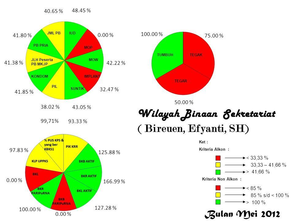 DALDUK Wilayah Binaan Bidang DALDUK ( Aceh Tengah, Aceh Tenggara, Aceh Barat) Dalduk 34.67 % 0.00 % 55.43 % 51.08 % 47.85 % 37.06 % 27.88 % 45.32 % 27.86 % 40.21 % 96.20 % 72.06 % 84.24 % 59.64 % 81.58 % 100.00 % 0.00 % 95.88 % 12.28 % 96.67 % 90.00 % 100.00 % 25.00 % 44.44 % DALDUK Bulan Mei 2012 < 33,33 % 33,33 – 41,66 % > 41,66 % Ket : Kriteria Alkon : Kriteria Non Alkon : > 100 % 85 % s/d < 100 % < 85 %