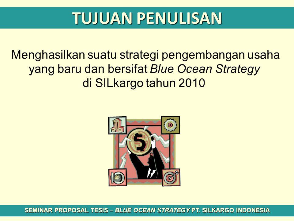 TUJUAN PENULISAN Menghasilkan suatu strategi pengembangan usaha yang baru dan bersifat Blue Ocean Strategy di SILkargo tahun 2010 SEMINAR PROPOSAL TES