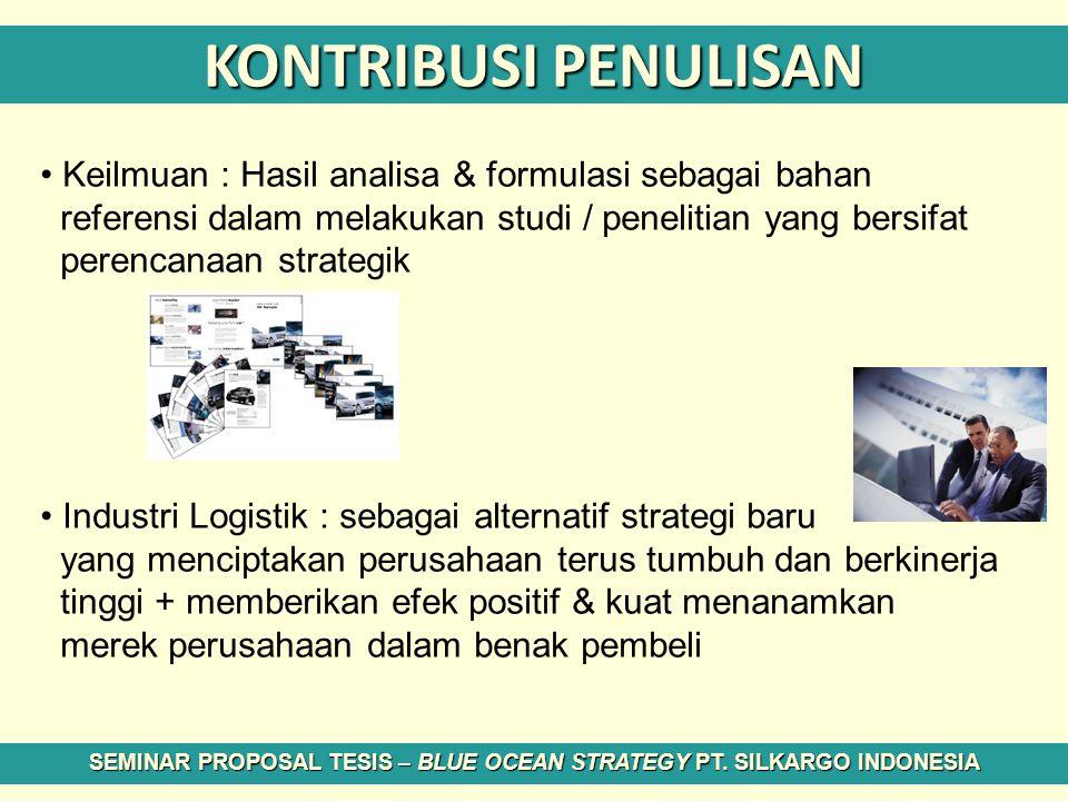 KONTRIBUSI PENULISAN Keilmuan : Hasil analisa & formulasi sebagai bahan referensi dalam melakukan studi / penelitian yang bersifat perencanaan strateg