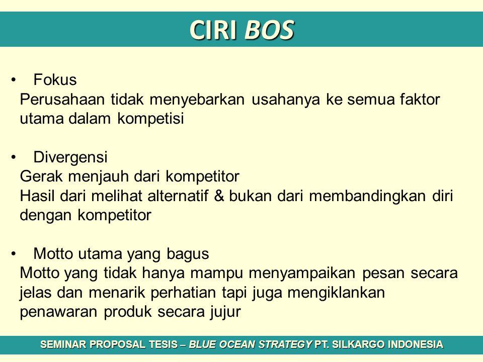 CIRI BOS Fokus Perusahaan tidak menyebarkan usahanya ke semua faktor utama dalam kompetisi Divergensi Gerak menjauh dari kompetitor Hasil dari melihat