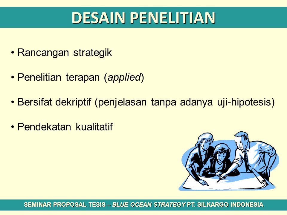 DESAIN PENELITIAN Rancangan strategik Penelitian terapan (applied) Bersifat dekriptif (penjelasan tanpa adanya uji-hipotesis) Pendekatan kualitatif SE
