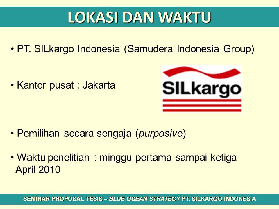 LOKASI DAN WAKTU PT. SILkargo Indonesia (Samudera Indonesia Group) Kantor pusat : Jakarta Pemilihan secara sengaja (purposive) Waktu penelitian : ming
