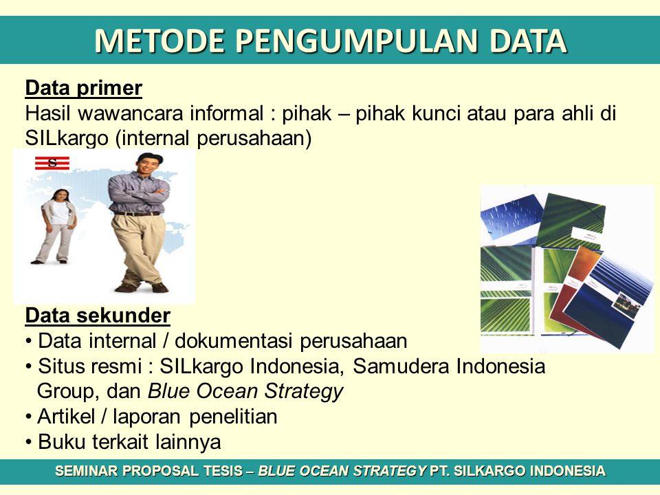 METODE PENGUMPULAN DATA Data primer Hasil wawancara informal : pihak – pihak kunci atau para ahli di SILkargo (internal perusahaan) Data sekunder Data