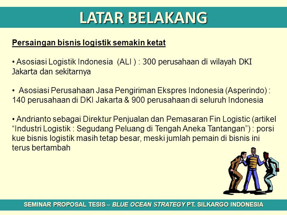 LATAR BELAKANG Persaingan bisnis logistik semakin ketat Asosiasi Logistik Indonesia (ALI ) : 300 perusahaan di wilayah DKI Jakarta dan sekitarnya Asos