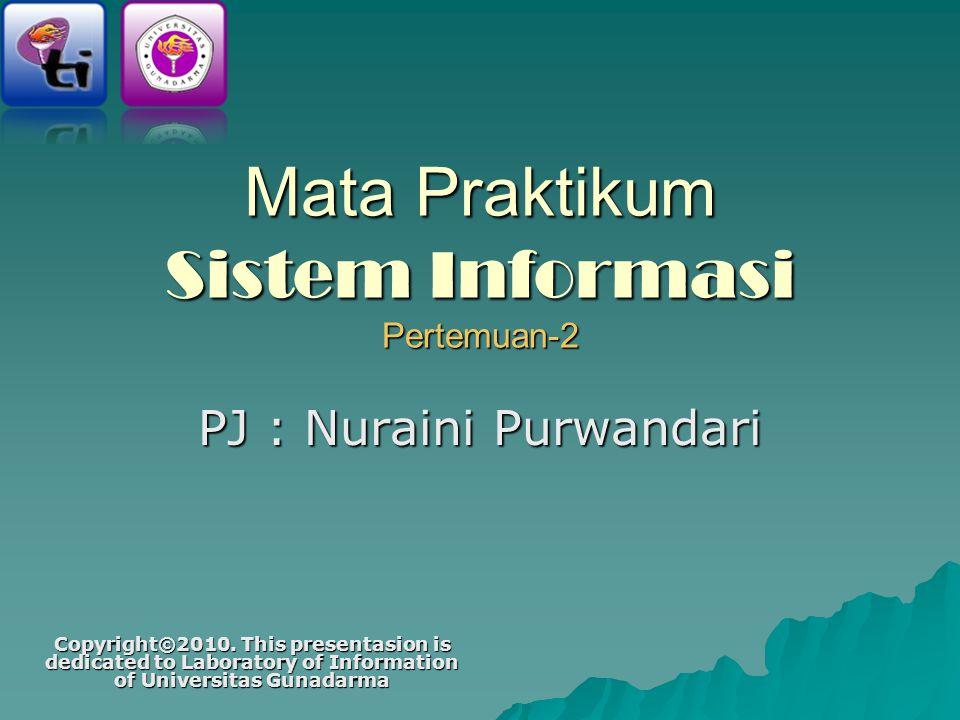 Mata Praktikum Sistem Informasi Pertemuan-2 PJ : Nuraini Purwandari Copyright©2010.