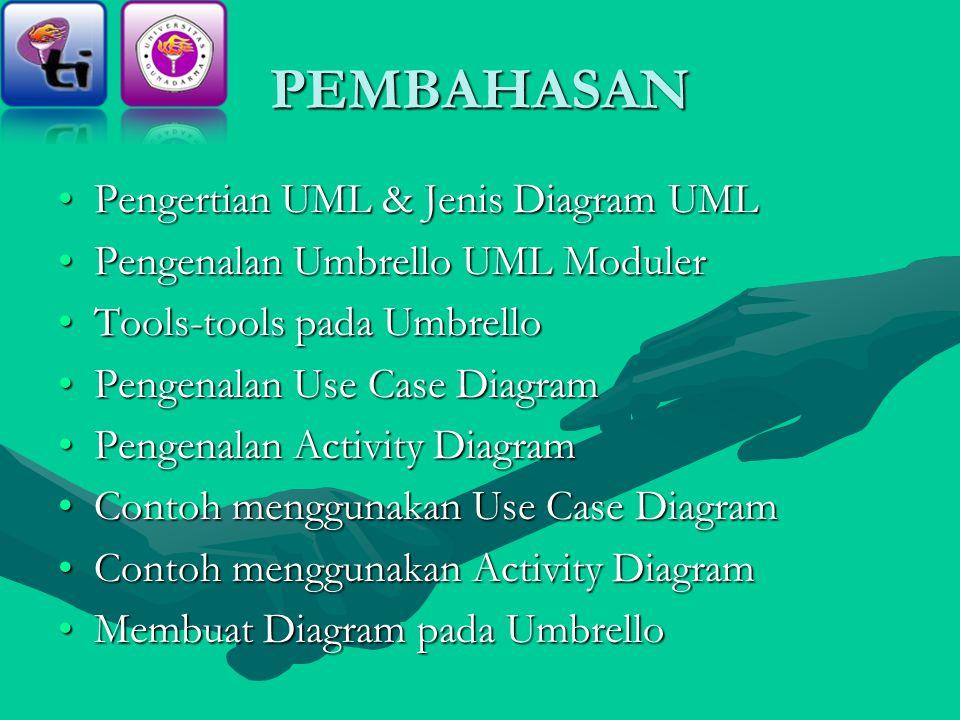 PEMBAHASAN Pengertian UML & Jenis Diagram UMLPengertian UML & Jenis Diagram UML Pengenalan Umbrello UML ModulerPengenalan Umbrello UML Moduler Tools-tools pada UmbrelloTools-tools pada Umbrello Pengenalan Use Case DiagramPengenalan Use Case Diagram Pengenalan Activity DiagramPengenalan Activity Diagram Contoh menggunakan Use Case DiagramContoh menggunakan Use Case Diagram Contoh menggunakan Activity DiagramContoh menggunakan Activity Diagram Membuat Diagram pada UmbrelloMembuat Diagram pada Umbrello