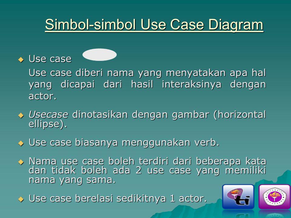Simbol-simbol Use Case Diagram  Use case Use case diberi nama yang menyatakan apa hal yang dicapai dari hasil interaksinya dengan actor.