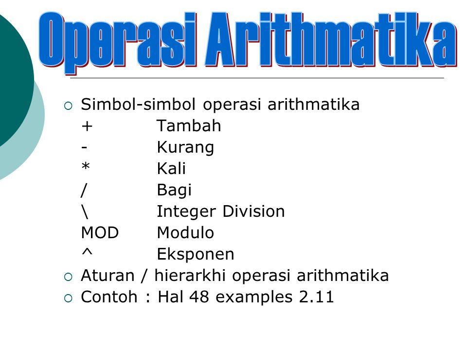  Simbol-simbol operasi arithmatika +Tambah -Kurang *Kali /Bagi \Integer Division MODModulo ^Eksponen  Aturan / hierarkhi operasi arithmatika  Contoh : Hal 48 examples 2.11