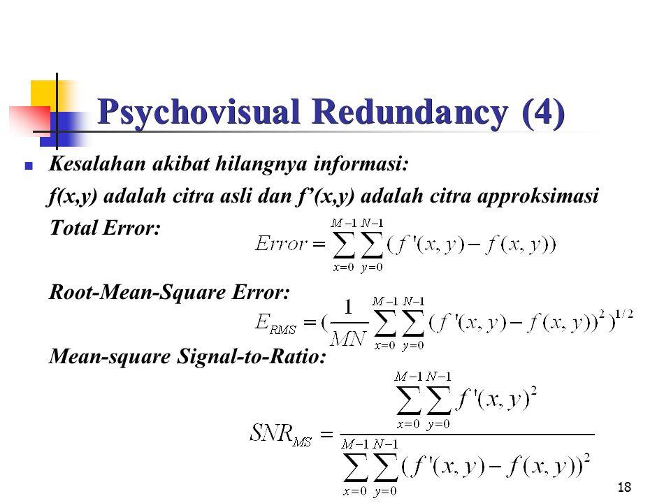 18 Psychovisual Redundancy (4) Kesalahan akibat hilangnya informasi: f(x,y) adalah citra asli dan f'(x,y) adalah citra approksimasi Total Error: Root-
