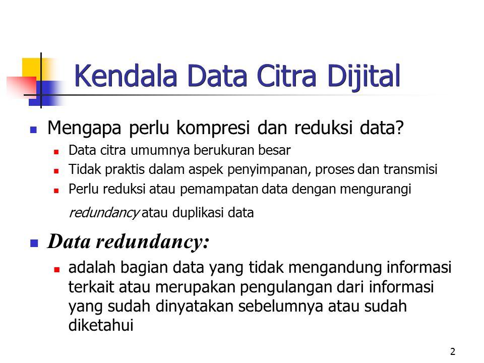 2 Kendala Data Citra Dijital Mengapa perlu kompresi dan reduksi data? Data citra umumnya berukuran besar Tidak praktis dalam aspek penyimpanan, proses