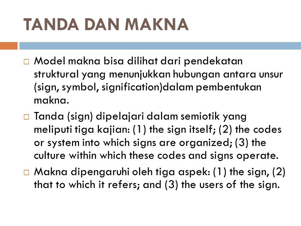 TANDA DAN MAKNA  Model makna bisa dilihat dari pendekatan struktural yang menunjukkan hubungan antara unsur (sign, symbol, signification)dalam pemben