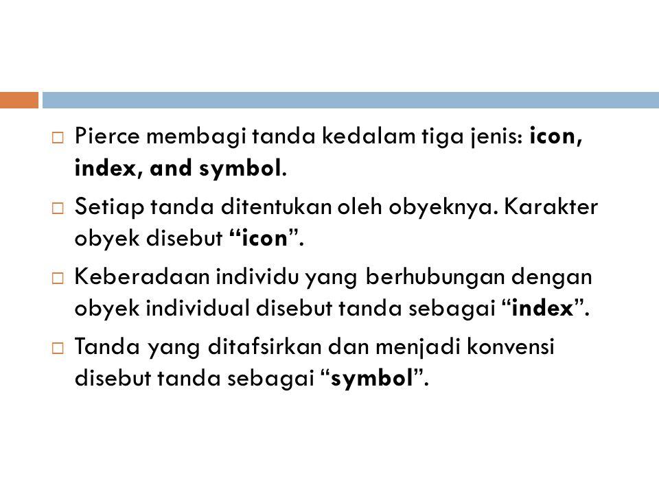 """ Pierce membagi tanda kedalam tiga jenis: icon, index, and symbol.  Setiap tanda ditentukan oleh obyeknya. Karakter obyek disebut """"icon"""".  Keberada"""