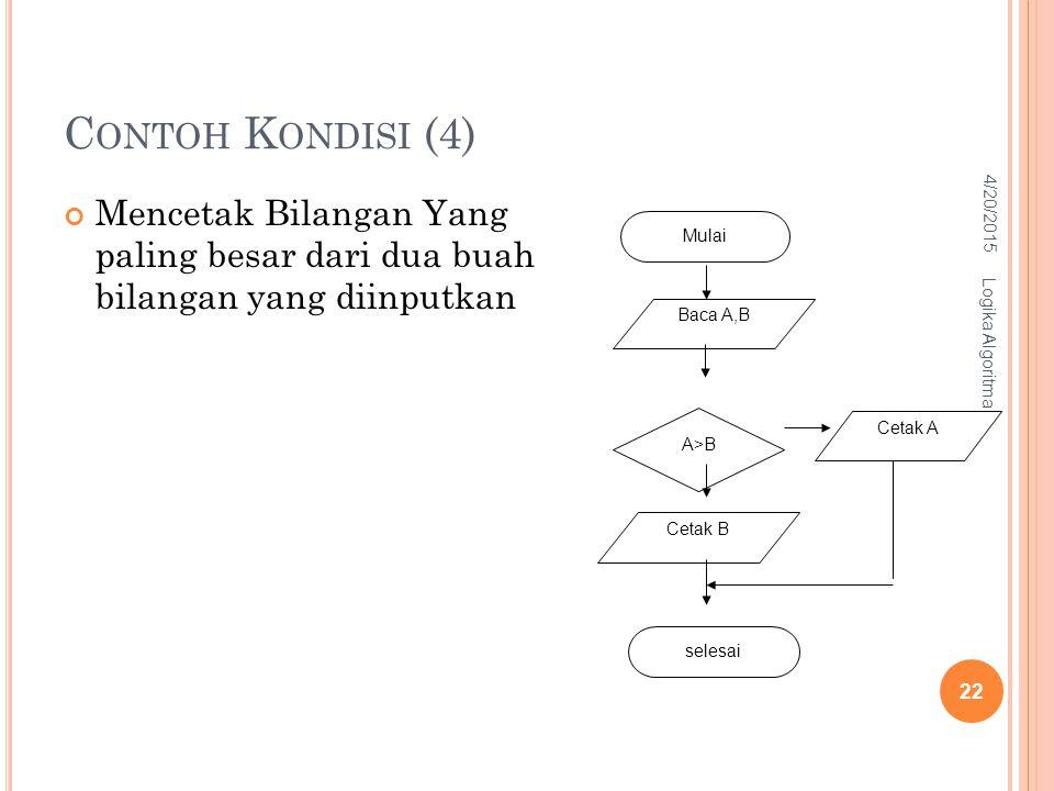 C ONTOH K ONDISI (4) Mencetak Bilangan Yang paling besar dari dua buah bilangan yang diinputkan Baca A,B A>B Cetak B Cetak A Mulai selesai 4/20/2015 L