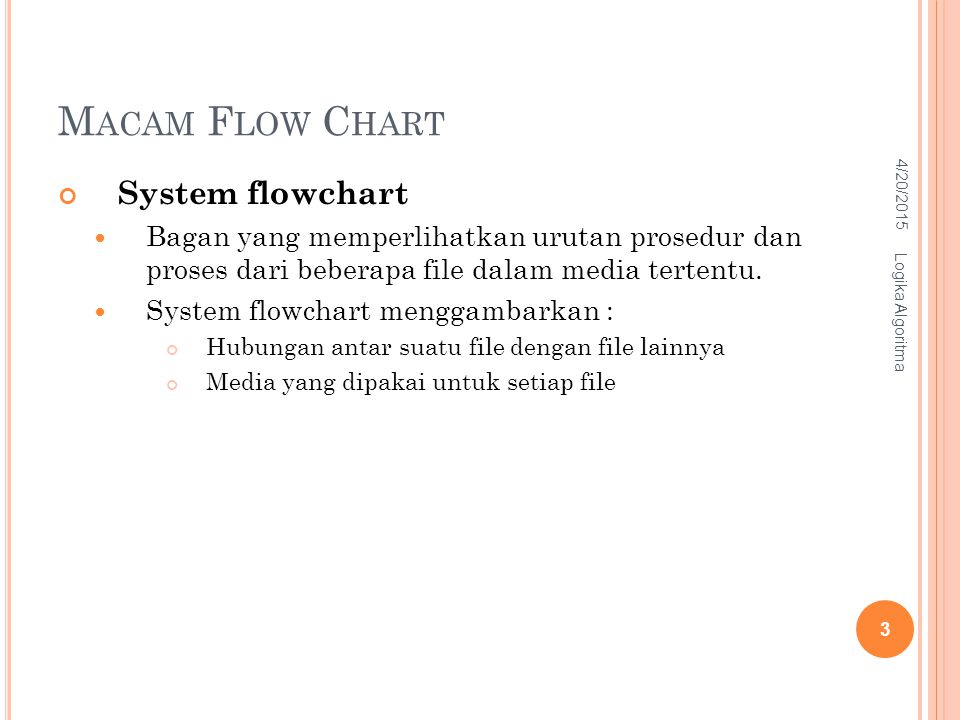 M ACAM F LOW C HART System flowchart Bagan yang memperlihatkan urutan prosedur dan proses dari beberapa file dalam media tertentu. System flowchart me