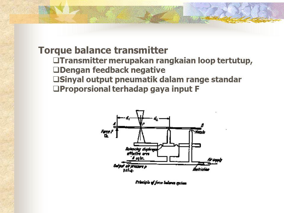 Torque balance transmitter  Transmitter merupakan rangkaian loop tertutup,  Dengan feedback negative  Sinyal output pneumatik dalam range standar 