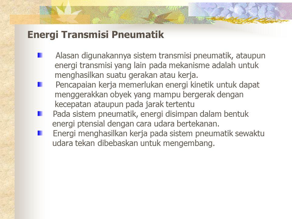 Energi Transmisi Pneumatik Alasan digunakannya sistem transmisi pneumatik, ataupun energi transmisi yang lain pada mekanisme adalah untuk menghasilkan