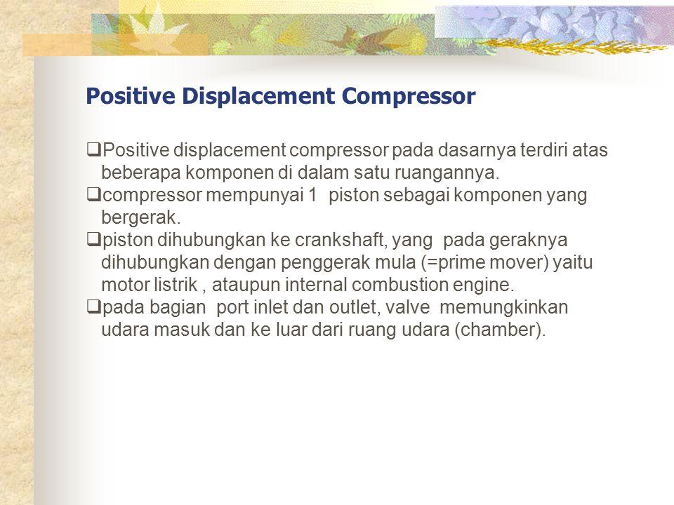 Positive Displacement Compressor  Positive displacement compressor pada dasarnya terdiri atas beberapa komponen di dalam satu ruangannya.  compresso