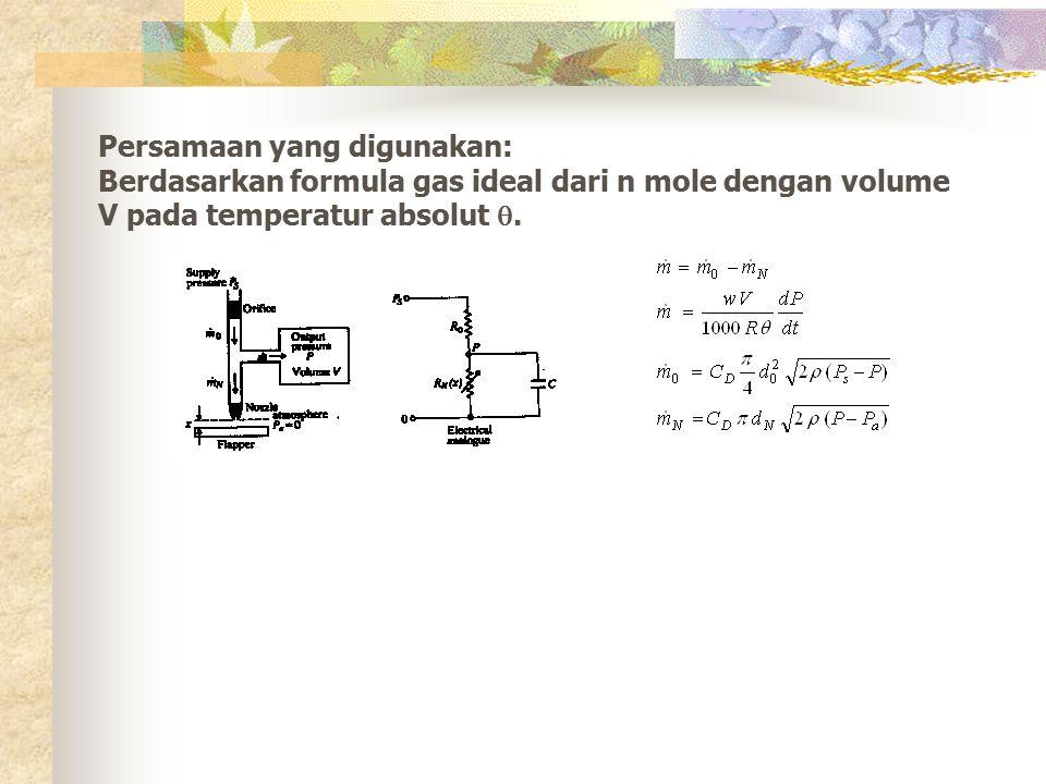 Persamaan yang digunakan: Berdasarkan formula gas ideal dari n mole dengan volume V pada temperatur absolut .