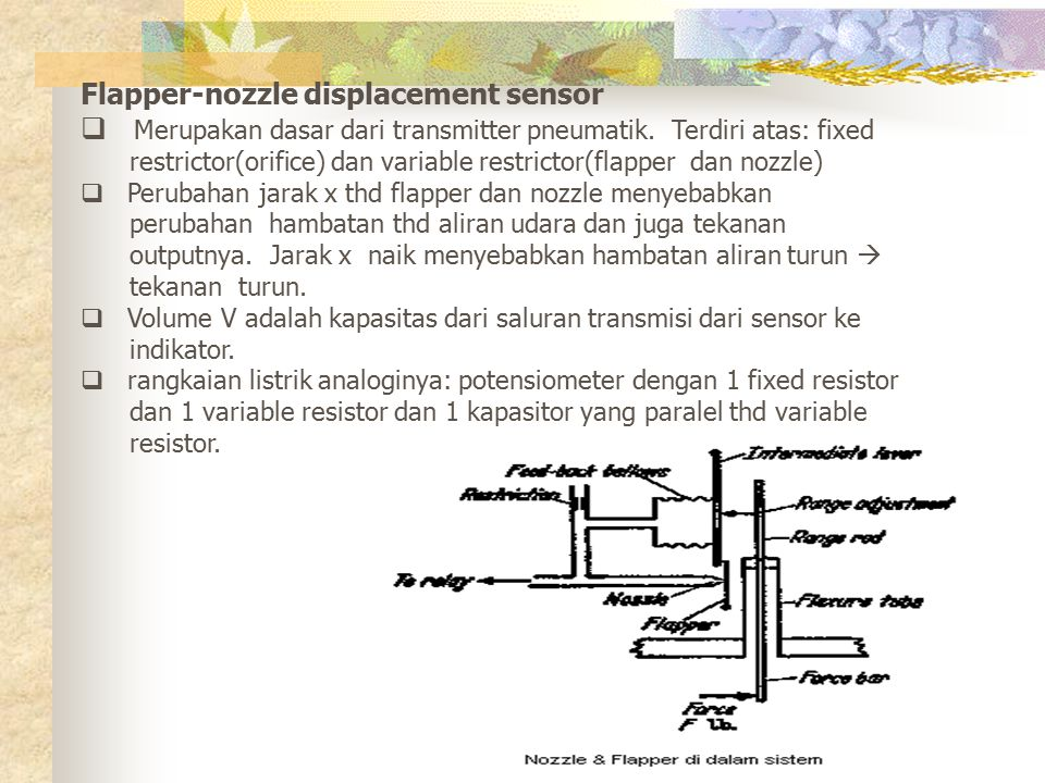 Flapper-nozzle displacement sensor  Merupakan dasar dari transmitter pneumatik. Terdiri atas: fixed restrictor(orifice) dan variable restrictor(flapp