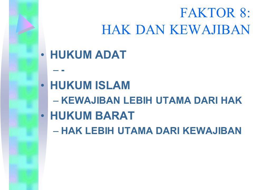 FAKTOR 8: HAK DAN KEWAJIBAN HUKUM ADAT –- HUKUM ISLAM –KEWAJIBAN LEBIH UTAMA DARI HAK HUKUM BARAT –HAK LEBIH UTAMA DARI KEWAJIBAN