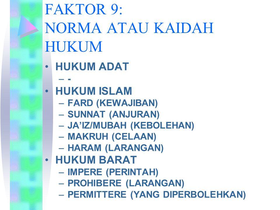 FAKTOR 9: NORMA ATAU KAIDAH HUKUM HUKUM ADAT –- HUKUM ISLAM –FARD (KEWAJIBAN) –SUNNAT (ANJURAN) –JA'IZ/MUBAH (KEBOLEHAN) –MAKRUH (CELAAN) –HARAM (LARA