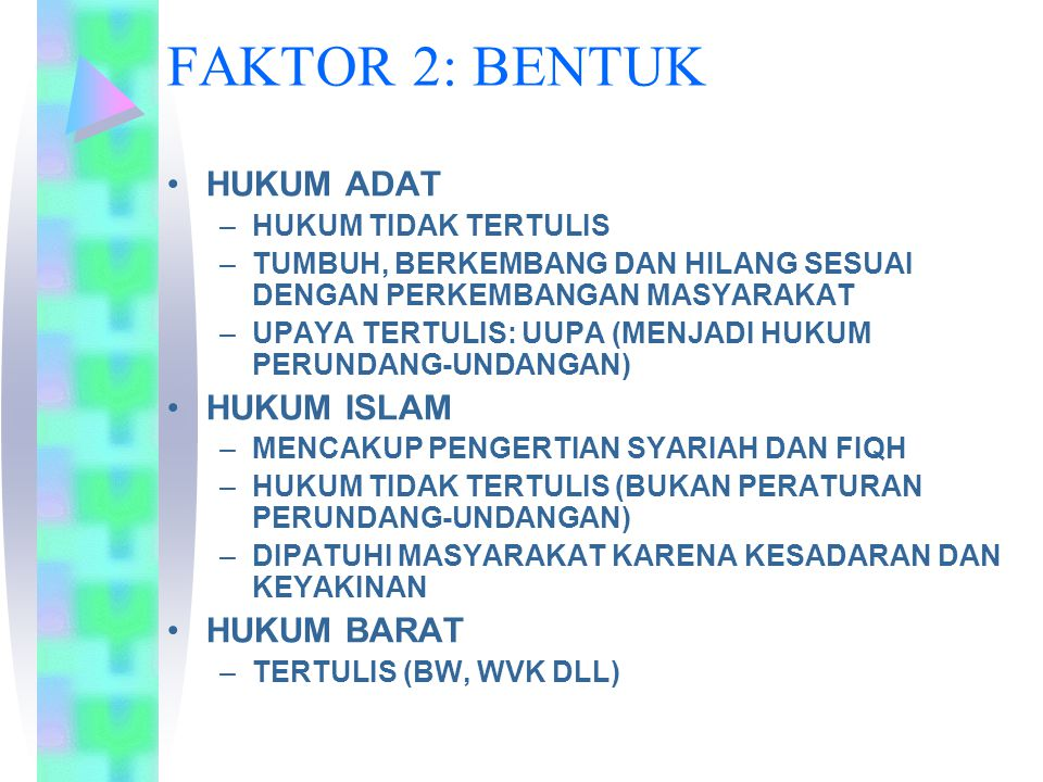 FAKTOR 2: BENTUK HUKUM ADAT –HUKUM TIDAK TERTULIS –TUMBUH, BERKEMBANG DAN HILANG SESUAI DENGAN PERKEMBANGAN MASYARAKAT –UPAYA TERTULIS: UUPA (MENJADI