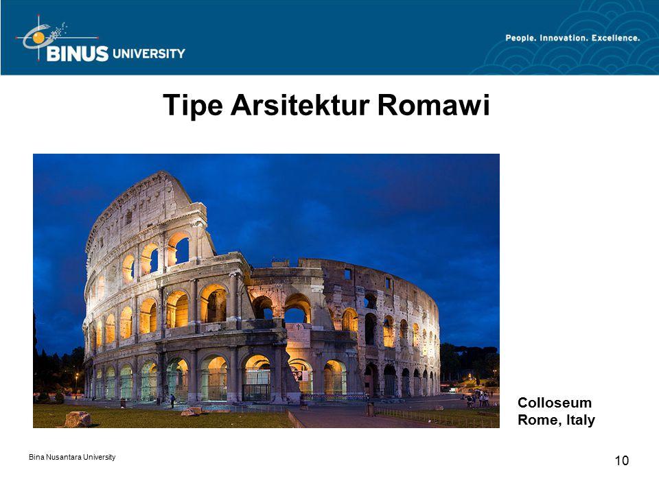 Bina Nusantara University 10 Tipe Arsitektur Romawi Colloseum Rome, Italy