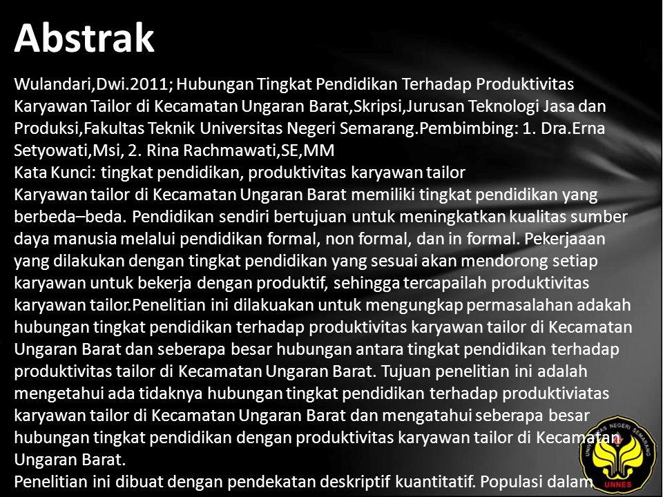 Abstrak Wulandari,Dwi.2011; Hubungan Tingkat Pendidikan Terhadap Produktivitas Karyawan Tailor di Kecamatan Ungaran Barat,Skripsi,Jurusan Teknologi Jasa dan Produksi,Fakultas Teknik Universitas Negeri Semarang.Pembimbing: 1.