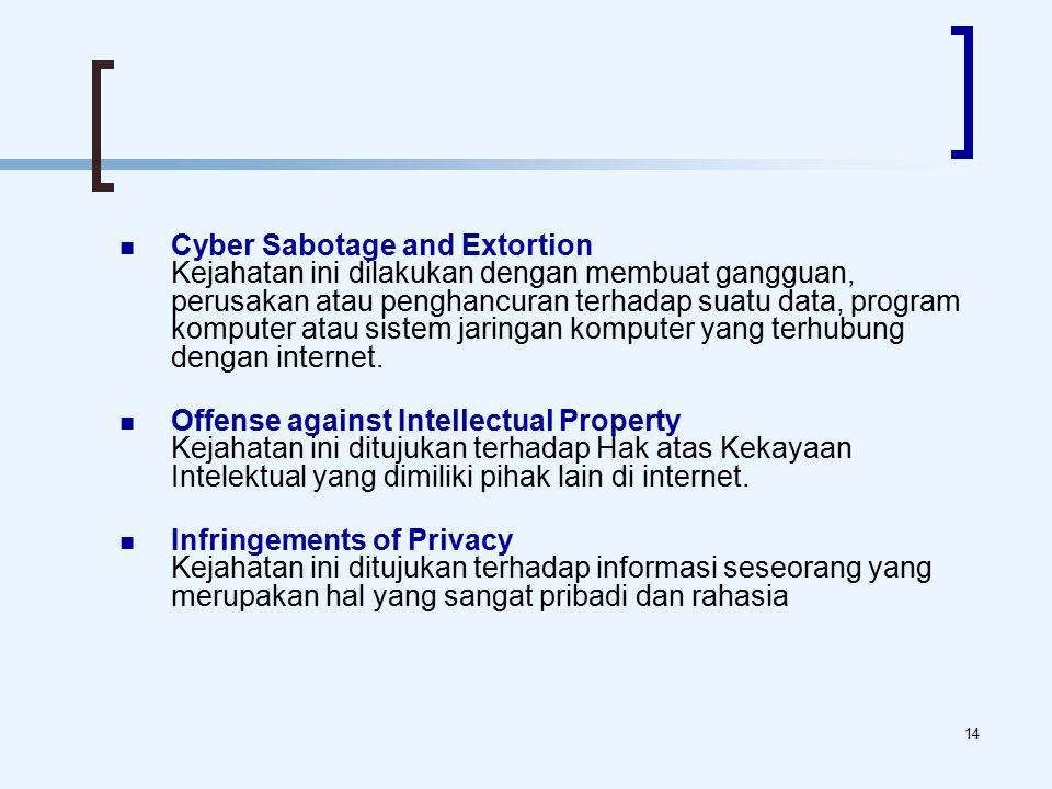14 Cyber Sabotage and Extortion Kejahatan ini dilakukan dengan membuat gangguan, perusakan atau penghancuran terhadap suatu data, program komputer atau sistem jaringan komputer yang terhubung dengan internet.