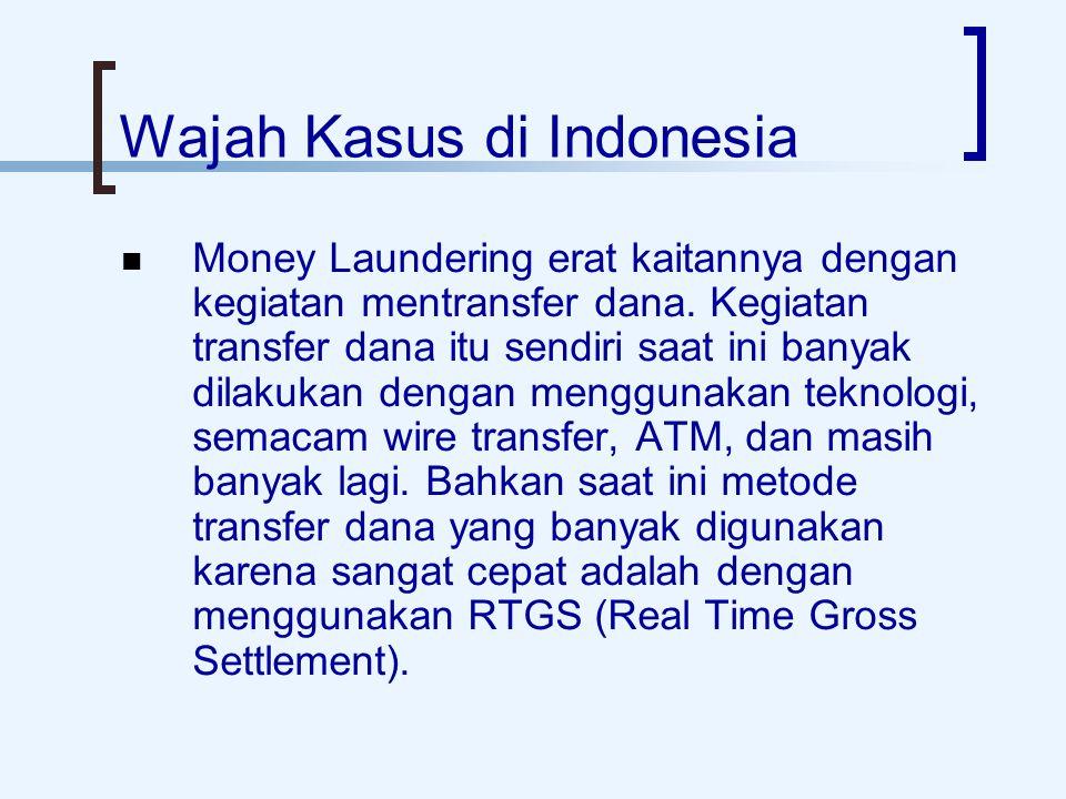 Wajah Kasus di Indonesia Money Laundering erat kaitannya dengan kegiatan mentransfer dana.