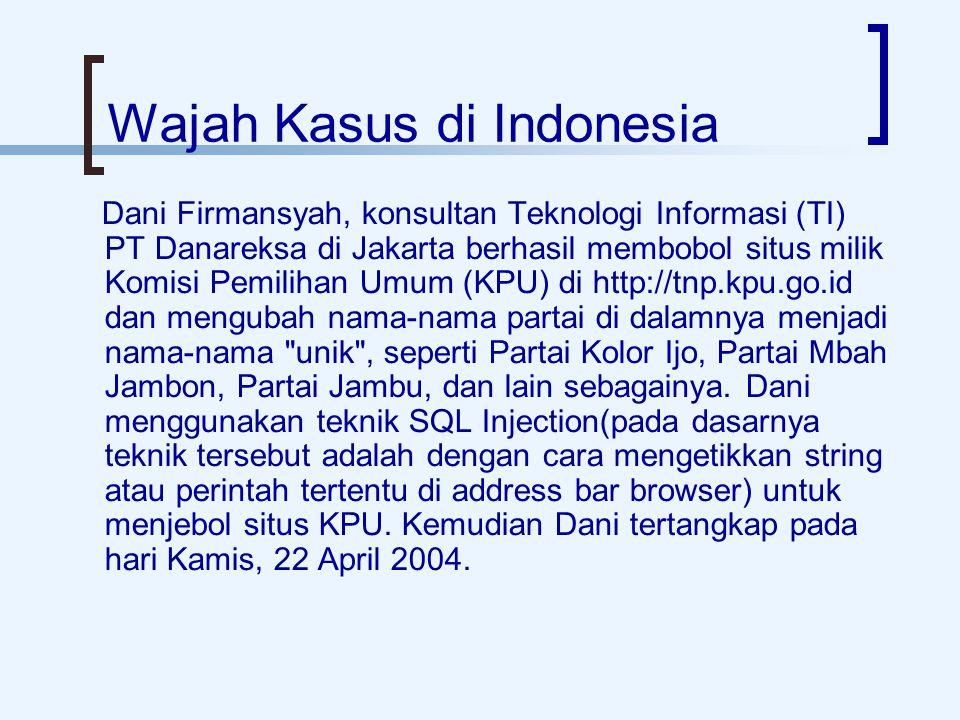 Wajah Kasus di Indonesia Dani Firmansyah, konsultan Teknologi Informasi (TI) PT Danareksa di Jakarta berhasil membobol situs milik Komisi Pemilihan Umum (KPU) di http://tnp.kpu.go.id dan mengubah nama-nama partai di dalamnya menjadi nama-nama unik , seperti Partai Kolor Ijo, Partai Mbah Jambon, Partai Jambu, dan lain sebagainya.