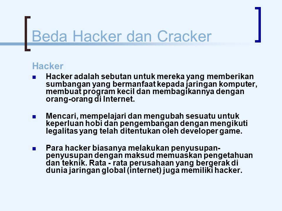 Beda Hacker dan Cracker Hacker Hacker adalah sebutan untuk mereka yang memberikan sumbangan yang bermanfaat kepada jaringan komputer, membuat program kecil dan membagikannya dengan orang-orang di Internet.