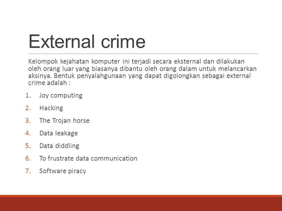 External crime Kelompok kejahatan komputer ini terjadi secara eksternal dan dilakukan oleh orang luar yang biasanya dibantu oleh orang dalam untuk mel