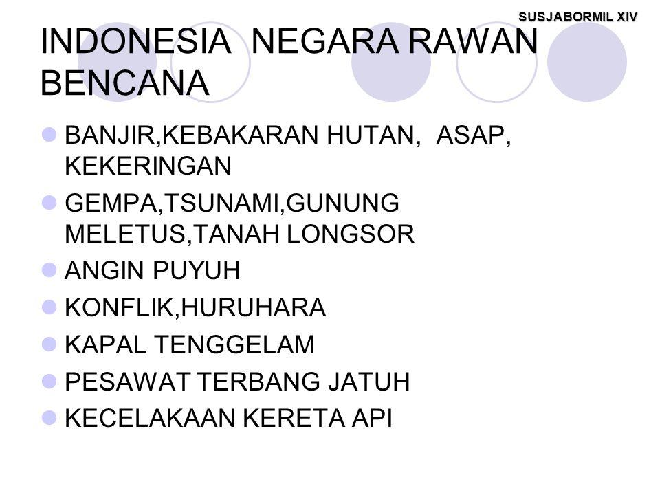 SUSJABORMIL XIV INDONESIA NEGARA RAWAN BENCANA BANJIR,KEBAKARAN HUTAN, ASAP, KEKERINGAN GEMPA,TSUNAMI,GUNUNG MELETUS,TANAH LONGSOR ANGIN PUYUH KONFLIK,HURUHARA KAPAL TENGGELAM PESAWAT TERBANG JATUH KECELAKAAN KERETA API