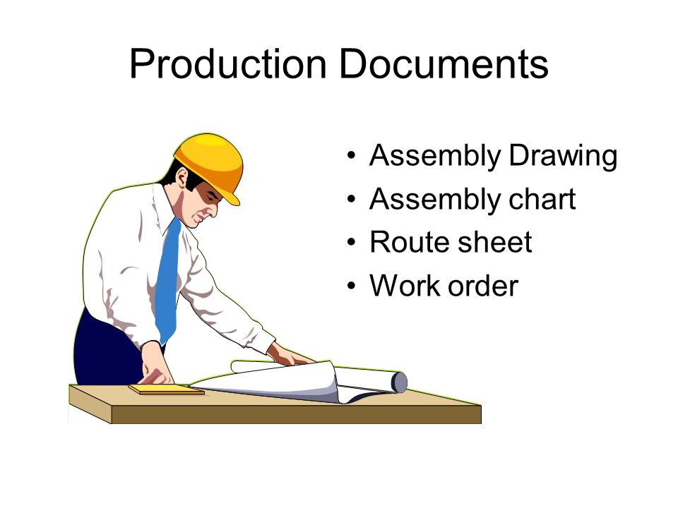 Production Documents Assembly Drawing Assembly chart Route sheet Work order