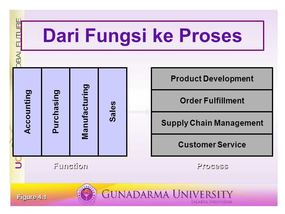 Dari Fungsi ke Proses Manufacturing Accounting Sales Purchasing Product Development Order Fulfillment Supply Chain Management Customer Service Functio
