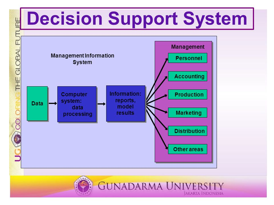 Decision Support System Management Information System Personnel Accounting Production Marketing Distribution Other areas Management Information: reports, model results Data Computer system: data processing