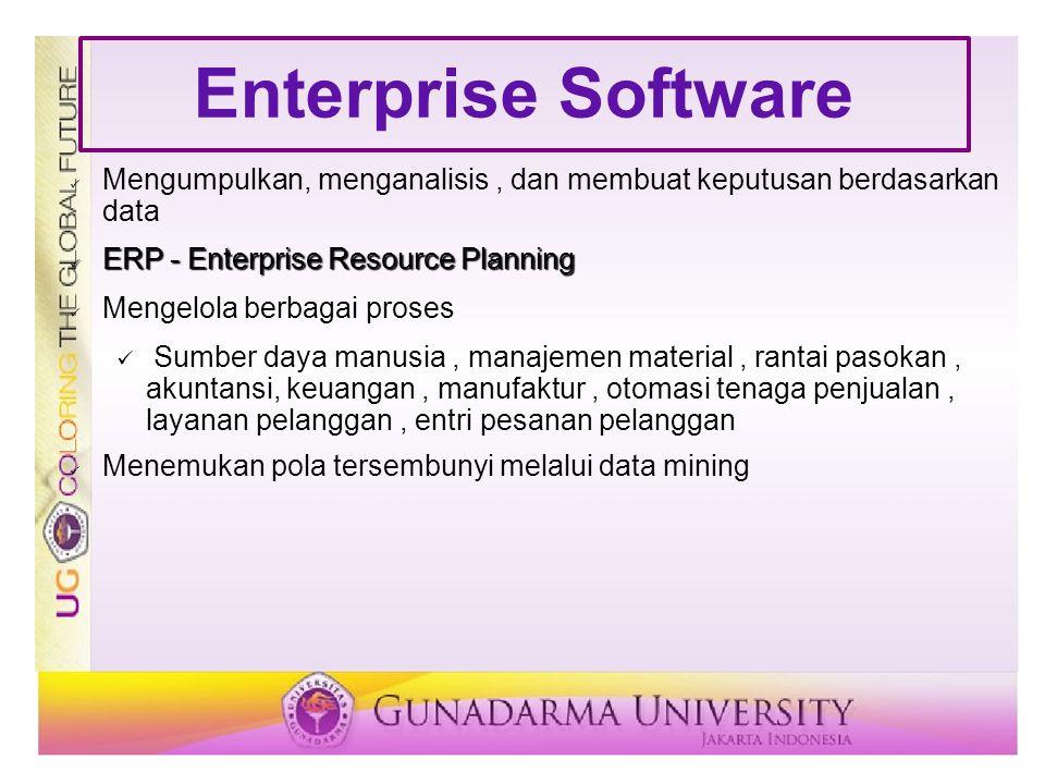 Enterprise Software Mengumpulkan, menganalisis, dan membuat keputusan berdasarkan data ERP - Enterprise Resource Planning ERP - Enterprise Resource Pl