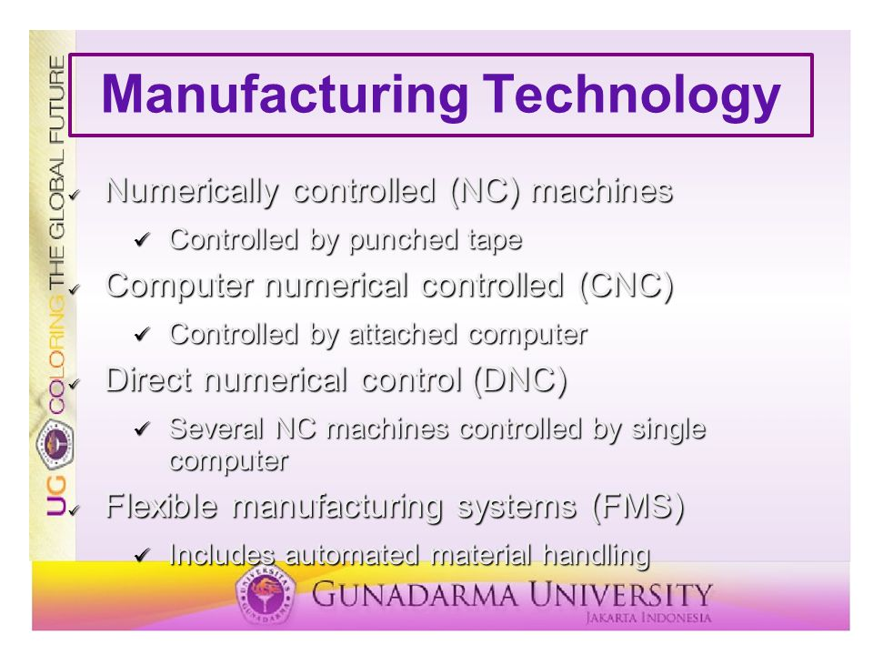 Manufacturing Technology Numerically controlled (NC) machines Numerically controlled (NC) machines Controlled by punched tape Controlled by punched ta