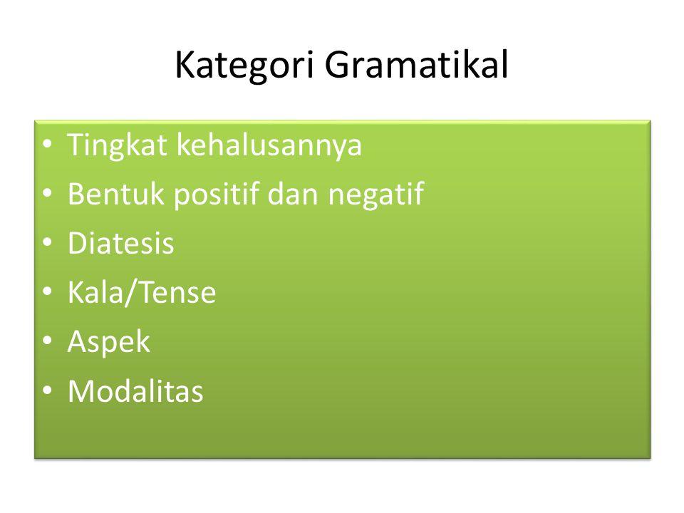 Kategori Gramatikal Tingkat kehalusannya Bentuk positif dan negatif Diatesis Kala/Tense Aspek Modalitas Tingkat kehalusannya Bentuk positif dan negati