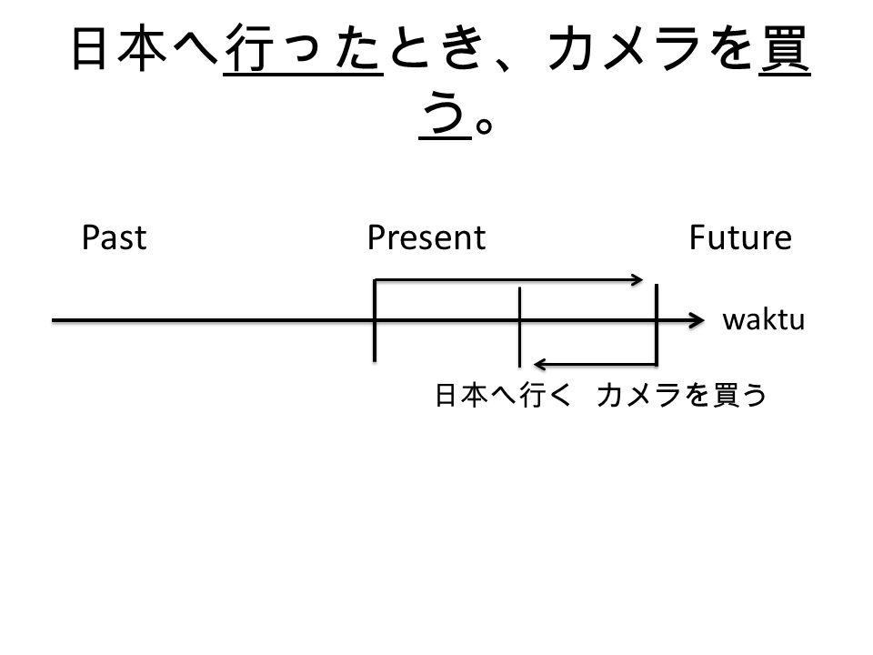 日本へ行ったとき、カメラを 買った。 Past Present Future 日本へ行く カメラを買う waktu