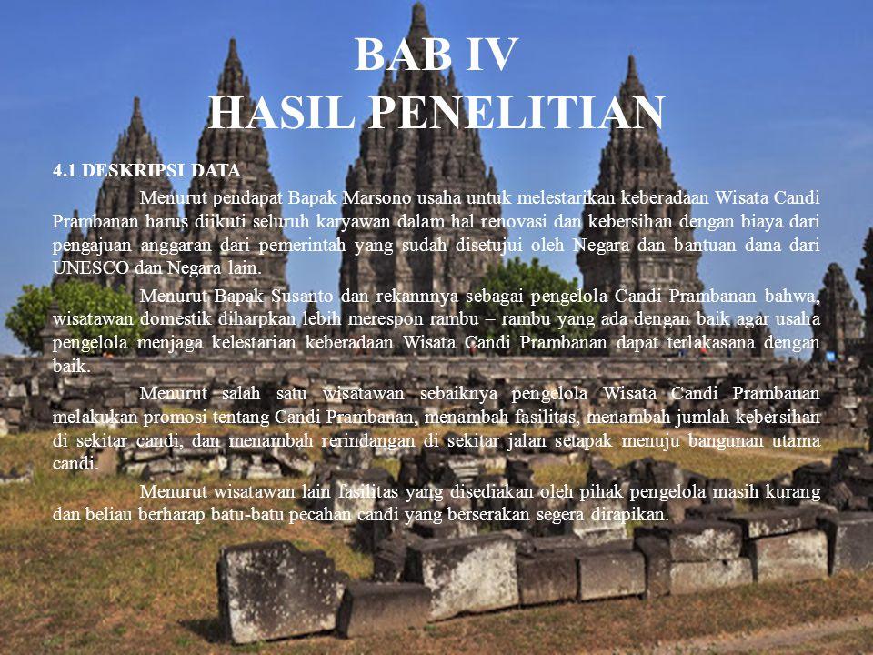 BAB IV HASIL PENELITIAN 4.1 DESKRIPSI DATA Menurut pendapat Bapak Marsono usaha untuk melestarikan keberadaan Wisata Candi Prambanan harus diikuti sel