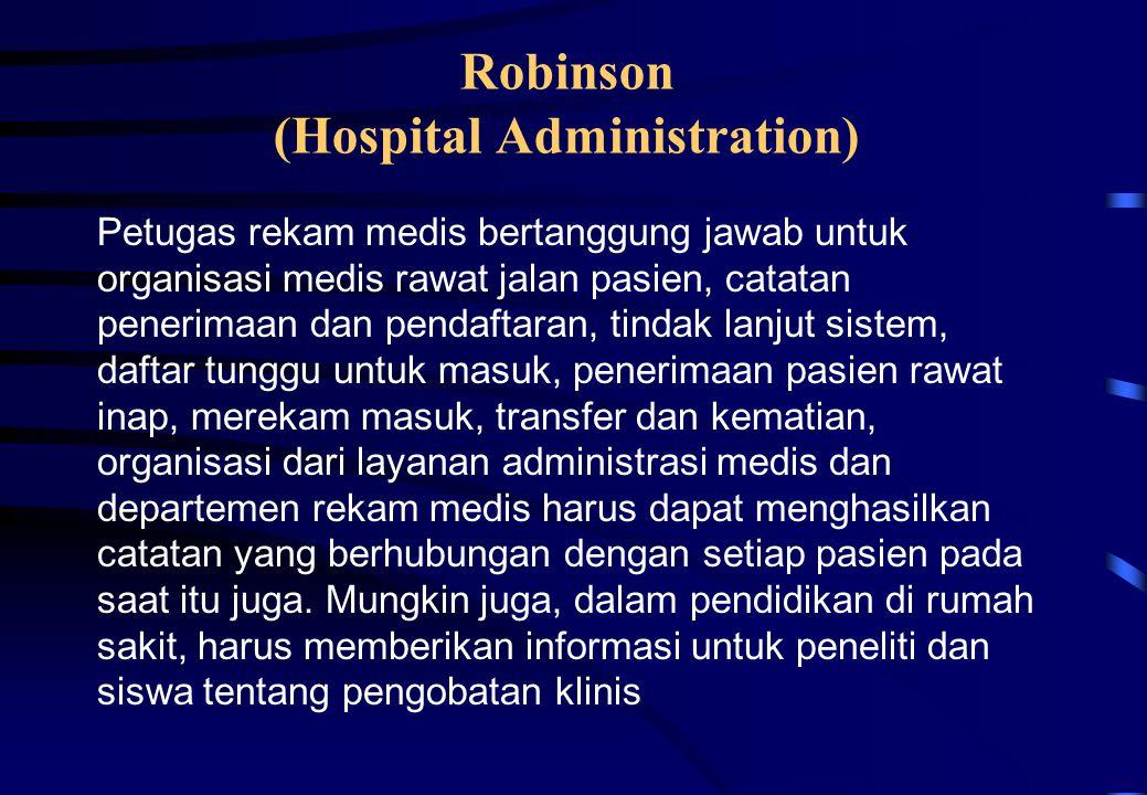 Petugas rekam medis bertanggung jawab untuk organisasi medis rawat jalan pasien, catatan penerimaan dan pendaftaran, tindak lanjut sistem, daftar tung