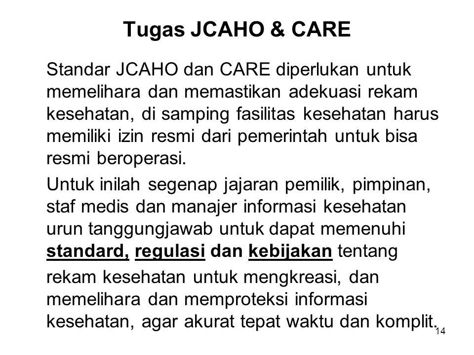 14 Tugas JCAHO & CARE Standar JCAHO dan CARE diperlukan untuk memelihara dan memastikan adekuasi rekam kesehatan, di samping fasilitas kesehatan harus
