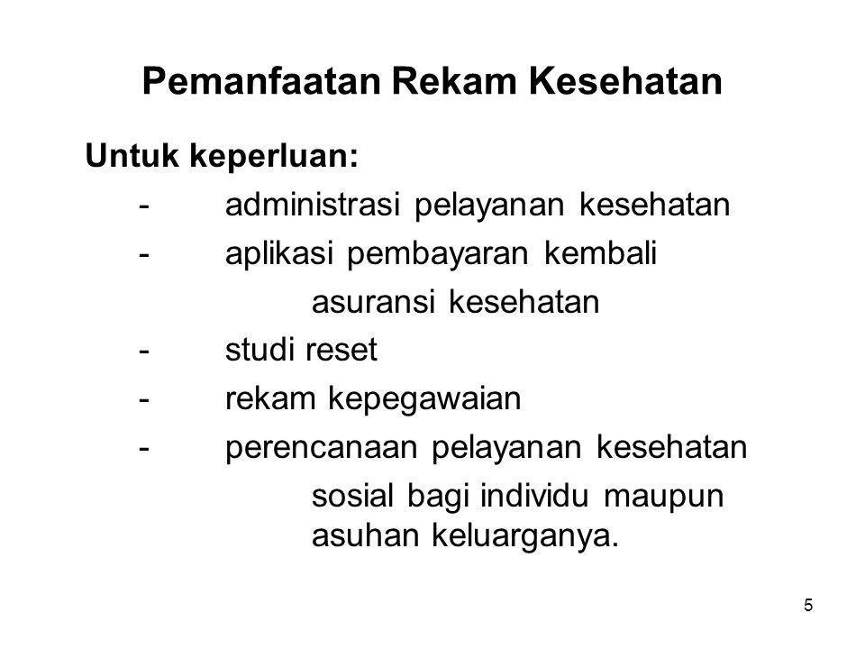 36 Contoh: Isi Rekam Rawat Inap (Lanjutan-1) Bukti ada informed consent, apabila diperlukan oleh kebijakan fasilitas pelayanan.