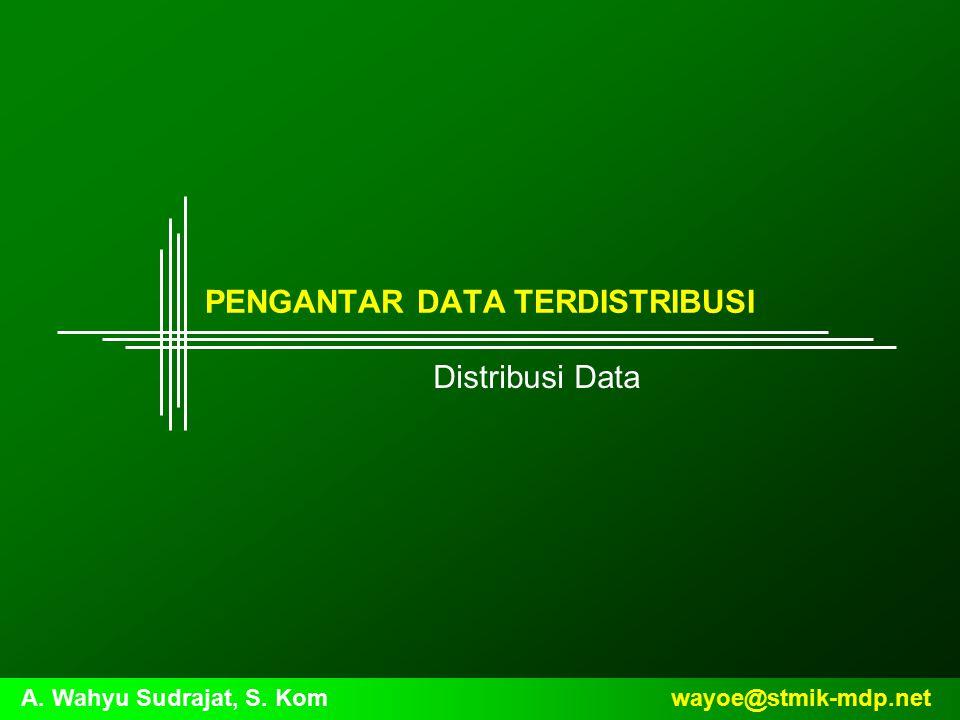 Pendahuluan Konfigurasi dari pengolahan terdistribusi bergantung pada data yang akan dipindahkan dan apakah data harus didistribusikan atau tidak Data distributed atau lainnya dapat disimpan dalam salah satu dari dua bentuk berikut ini, yaitu: –Database –Kumpulan file